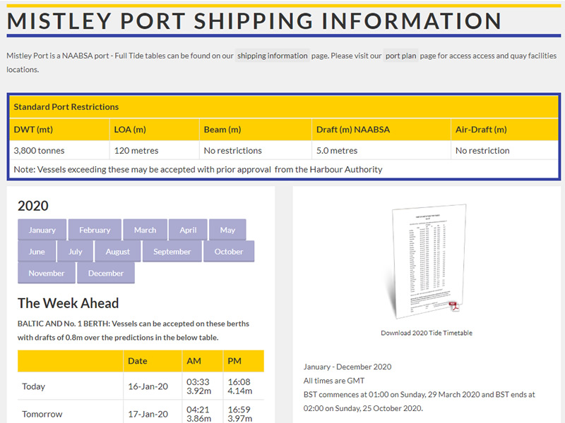 New Port Of Mistley 2020 Tide Tables Available